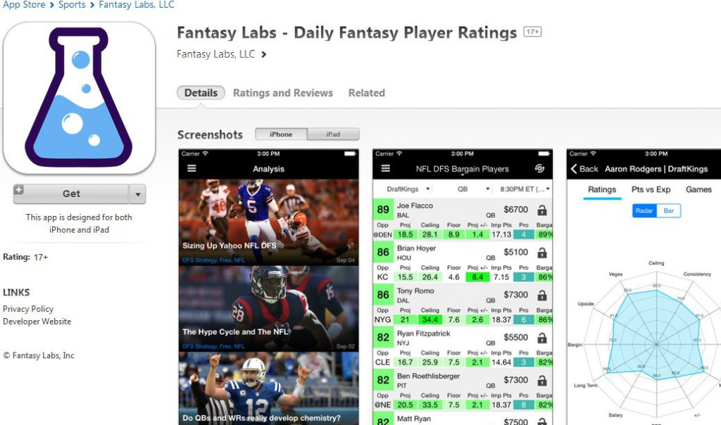 Fantasy Labs App Now Available (and FREE)