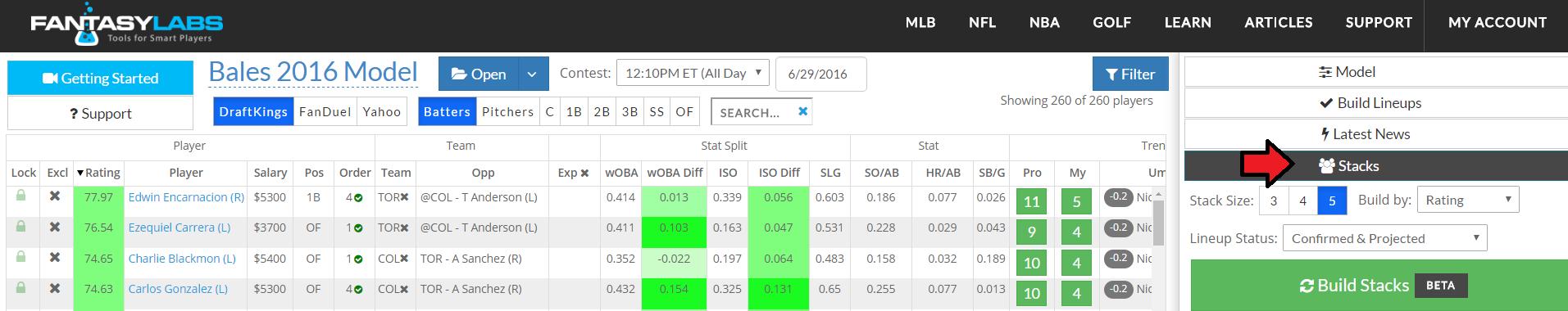 FantasyLabs MLB Stacking Feature | FantasyLabs
